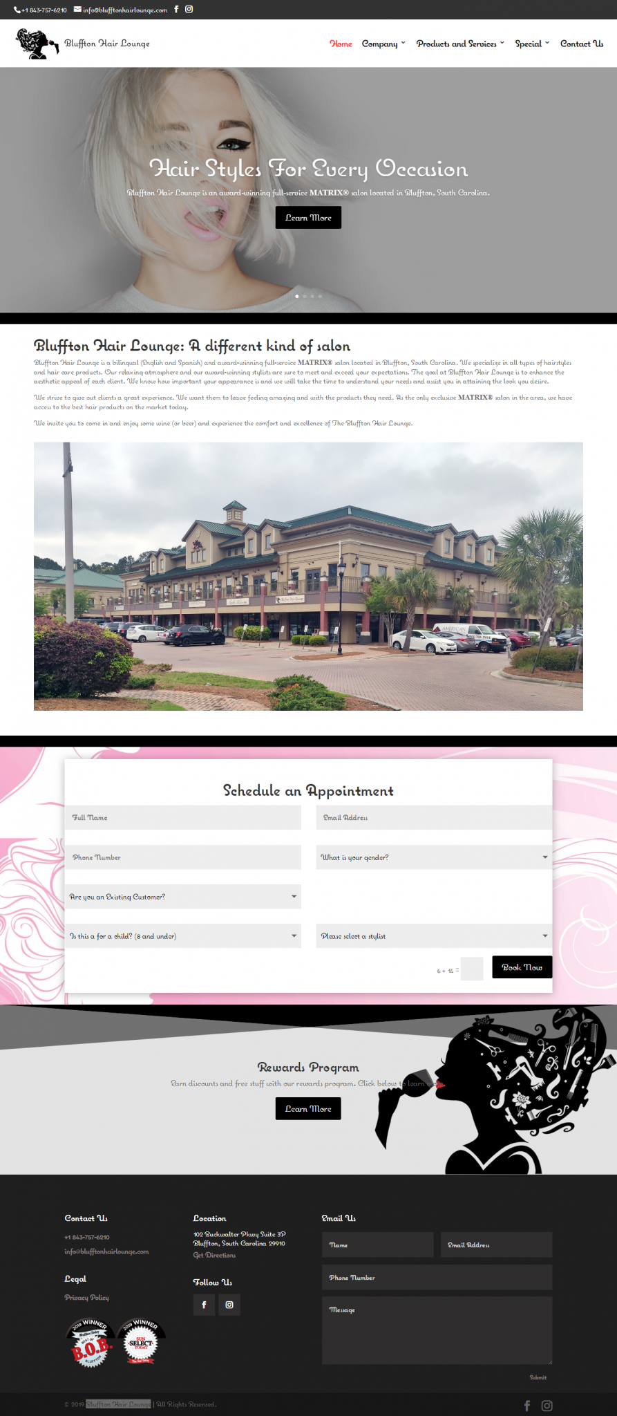 Bluffton Hair Lounge Website