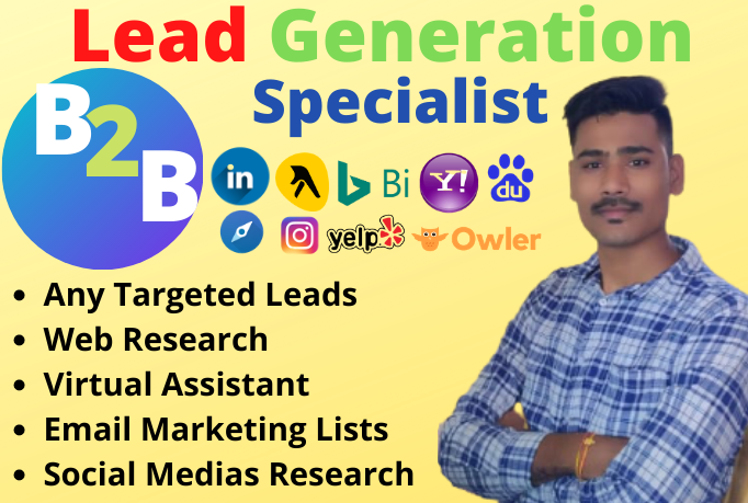 I will do data entry, web research specialist, b2b lead generation